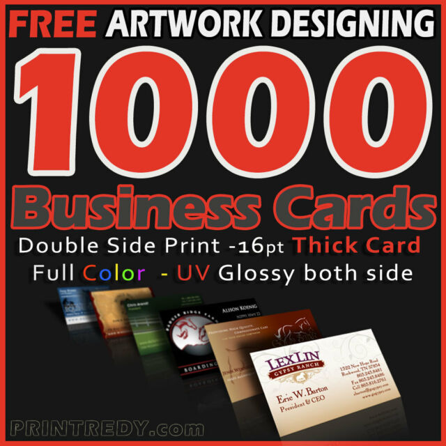 1000 Business Cards Full Color 2 Side Printing UV Coated-Free Design-Shipping