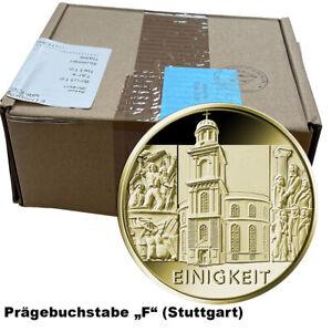 Goldmünze Säulen der Demokratie 100 Euro Einigkeit 2020 Buchstabe F 12er Box