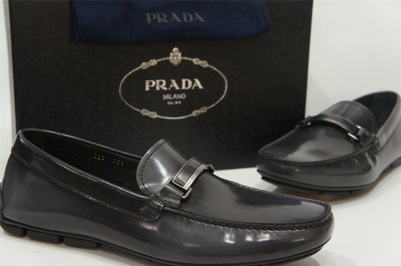 PRADA SPAZZOLATO LEATHER DRIVING LOAFER SHOES 7 8