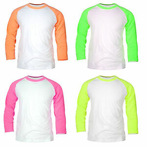 mens 3 4 raglan sleeve baseball fluorescent neon tops