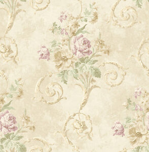 Tapete Luxustapete Blumenprint Antik Marmor Naturtone Altrose