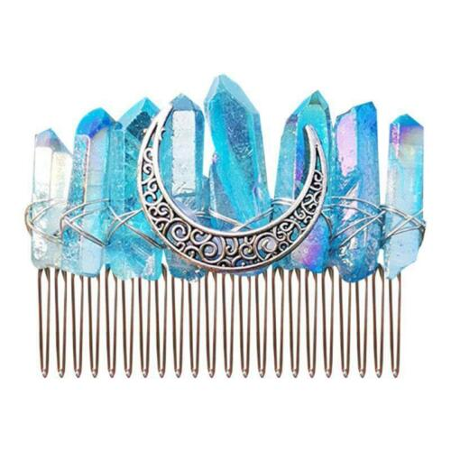 Gradient Rainbow Faux Raw Crystal Hair Comb Angel Aura Bridal Wedding Hairpin x