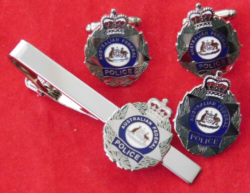 AUSTRALIAN FEDERAL POLICE JEWELLERY SET ENAMEL /& NICKEL PLATED  25MM HIGH SOCIAL
