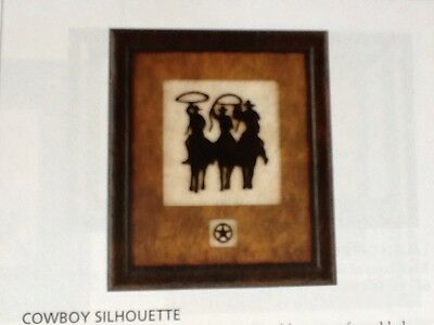 Cowboy Silhouette Wood Framed Art Print New Vintage Home Interiors Gifts Ebay