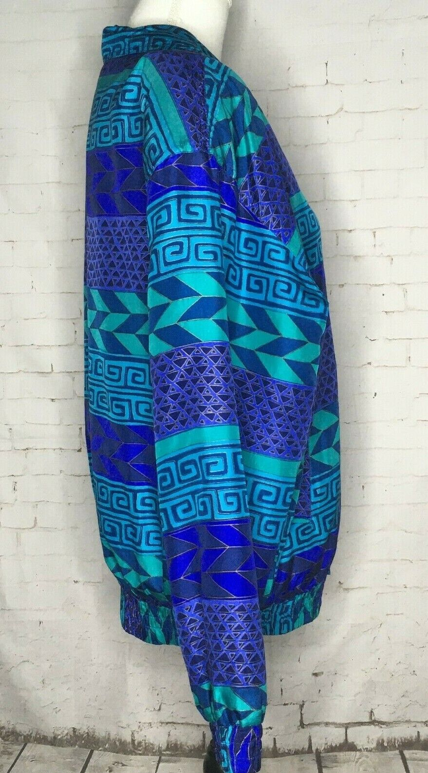 Fuda International Silk Jacket Blue Green Geometr… - image 2