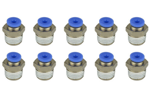 """10x TEMCo Pneumatic Air Quick Push to Connect Fitting 1//4/"""" NPT to 1//8/"""" Hose OD"""