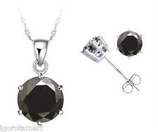 Round Black Gemstone Necklace Stud Earrings Jewelry Set Sterling Silver Women's