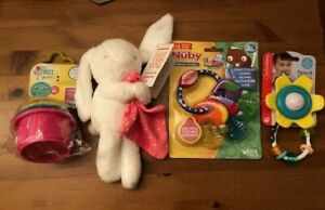 Baby-Lot-of-4-items-incl-Nuby-teether-Infantino-rattle-Carters-bunny-First-Y