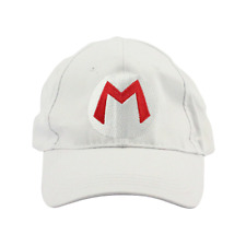 b8f4d47e59a Mario M Logo White Baseball Cap Hat Super Mario Brothers Costume Nintendo  Kart