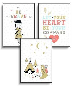Details zu Wandbild A4 Deko 3er Set Skandi 12 Kinderzimmer Mädchen Poster  Tiere Geschenk