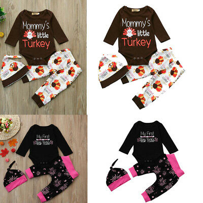 Infant Baby Girl Boy Letter /&Turkey Romper Tops+Pants Hat New Year Outfits Set