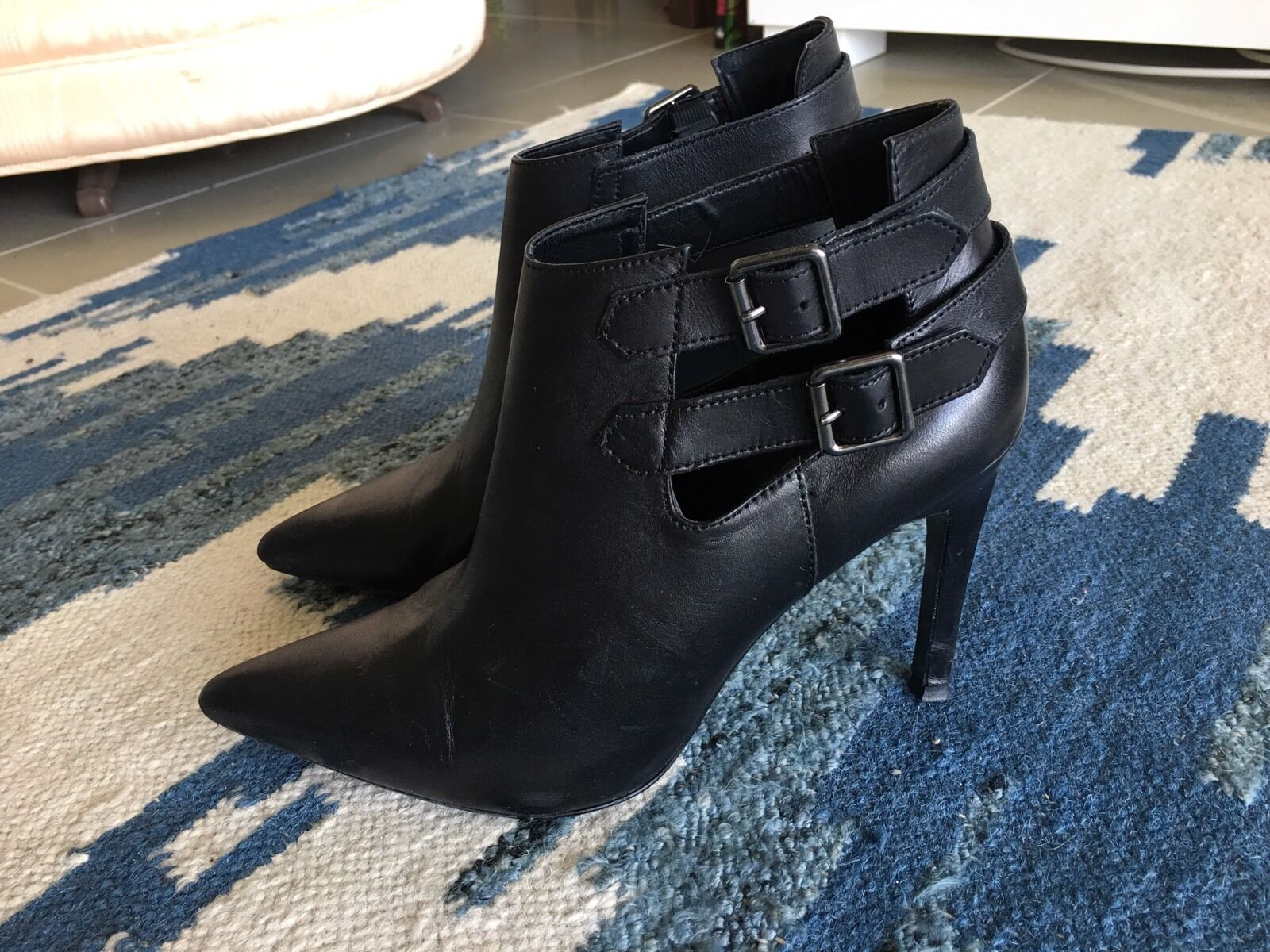 Mango Leather Ankle Boots