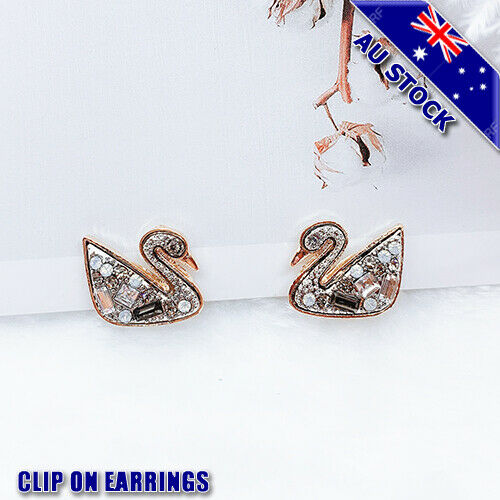Genuine 18K Gold Plated Swan Pave Clear CZ Crystal Clip On Bride Earrings