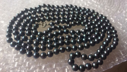 8mm Black South Sea Shell Pearl Necklace 60Inch PN1192