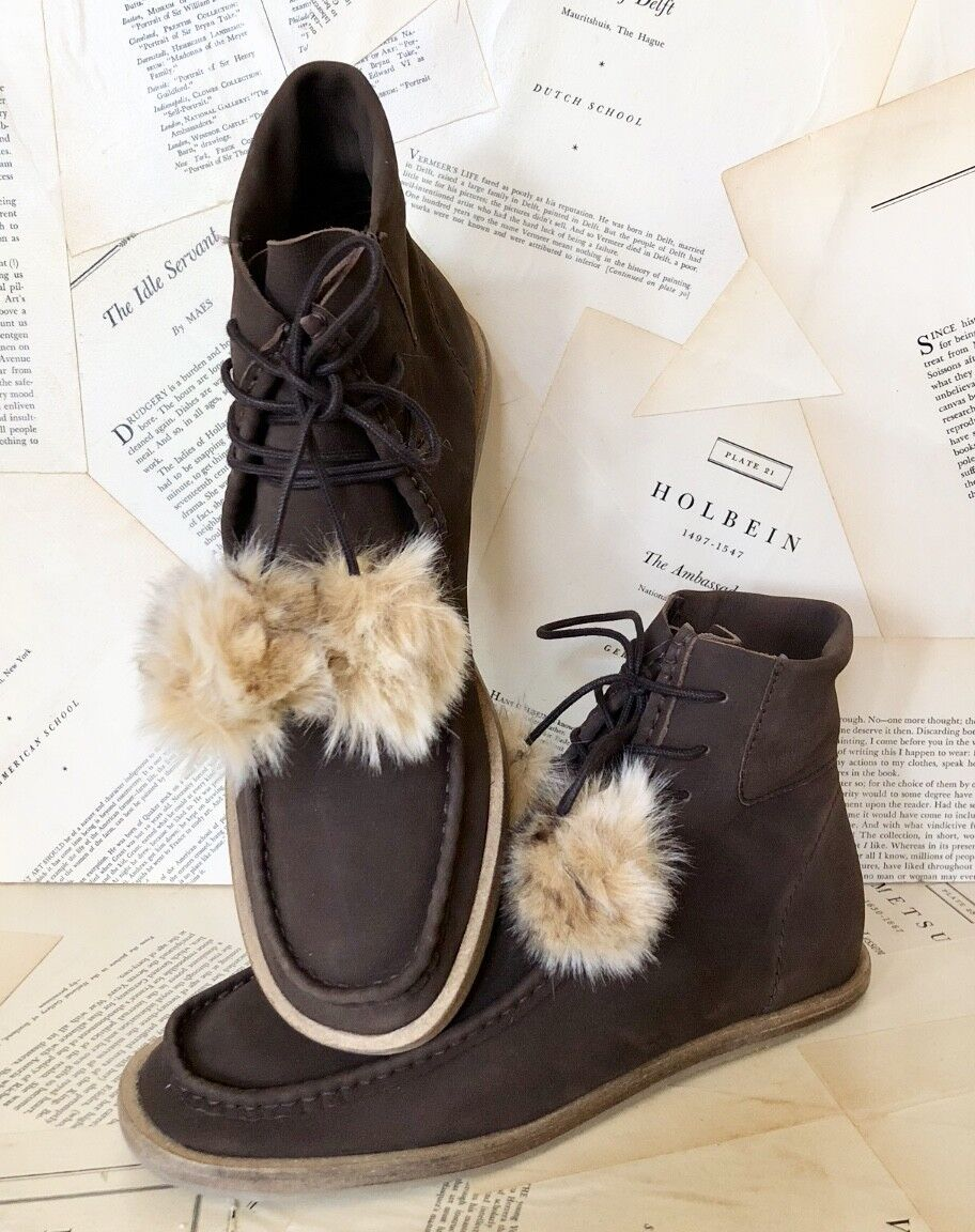 NEW Free People brown Suede Lace Up Faux Fur Pom Pom Crepe Soul Ankle Boots 9