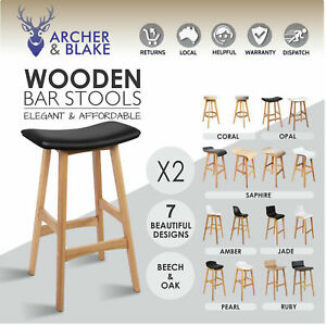 Cool Details About 2 Kitchen Leather Chair Stool Dining Set Black White Timber Bar New Oak Barstool Machost Co Dining Chair Design Ideas Machostcouk