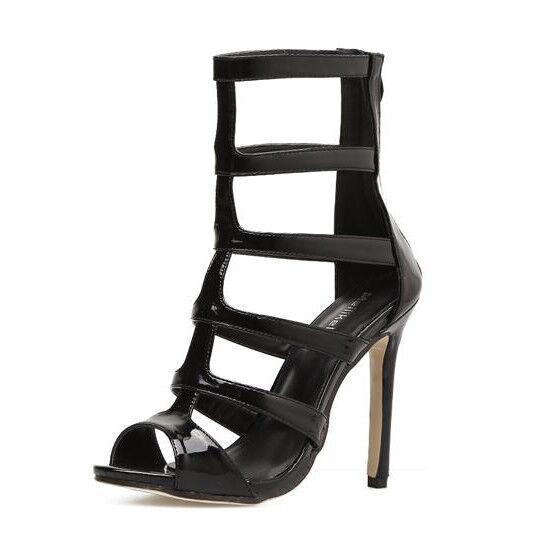 Sandali eleganti tacco stiletto 11 cm nero lucido simil pelle eleganti 9860