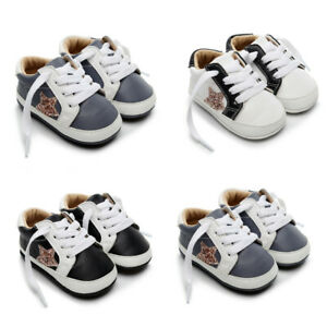 Baby-Infant-Newborn-Girls-Boys-Star-Shoes-First-Walkers-Kids-Lace-up-Shoes