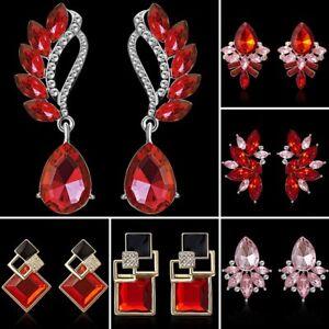 Colorful-Crystal-Rhinestone-Drop-Dangle-Ear-Stud-Earrings-Wedding-Jewellery-Gift