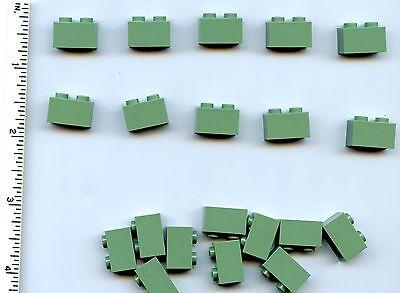 LEGO x 20 Sand Green Brick 1 x 2 NEW 3004