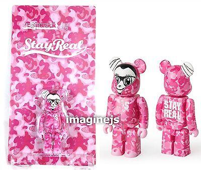 new~ Medicom X Stay Real 2nd Version Pink Camo 100/% Be@rbrick Bearbrick figure