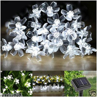 23FT 50 LED Solar Blossom Flower Fairy String Lights for Outdoor Garden Wedding