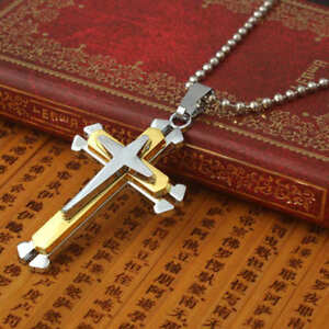 Uk mens chain necklace silver gold cross pendant jesus mens image is loading uk mens chain necklace silver amp gold cross aloadofball Images