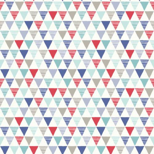 Designtapete Rot KinderTapete Dreiecke Blau symmetrisch Grau Cyan Petrol