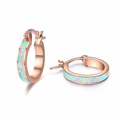 f4d6db66d9 Huggie Earrings Small Sterling Silver Hoop Earrings Circle Opal Birthday  Ston... | eBay