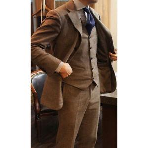 Men/'s Brown Herringbone Tweed Long Suit Formal Business Groom Wedding Jacket