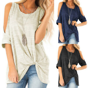 Plus-Size-Women-Cold-Shoulder-T-Shirt-Tee-Tunic-Loose-Casual-Summer-Blouse-Tops