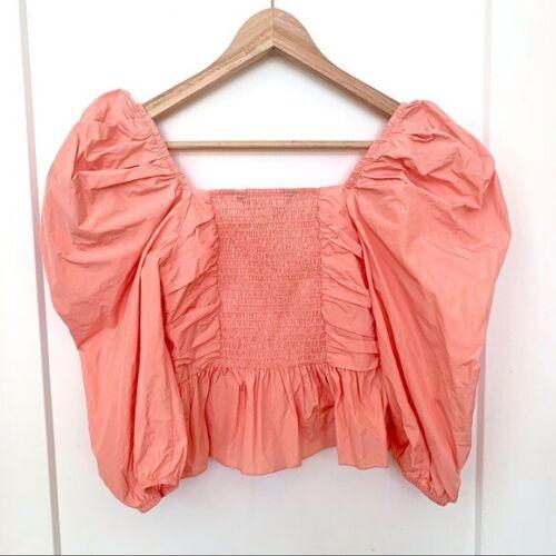 M Zara NWT Ruffled Voluminous Top Puff Sleeves Pink Coral BLOGGER FAV S L