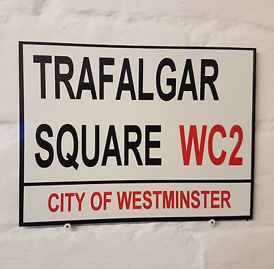 TRAFALGAR SQUARE LONDON STREET SIGN Metal Aluminium Wall Door Plaque