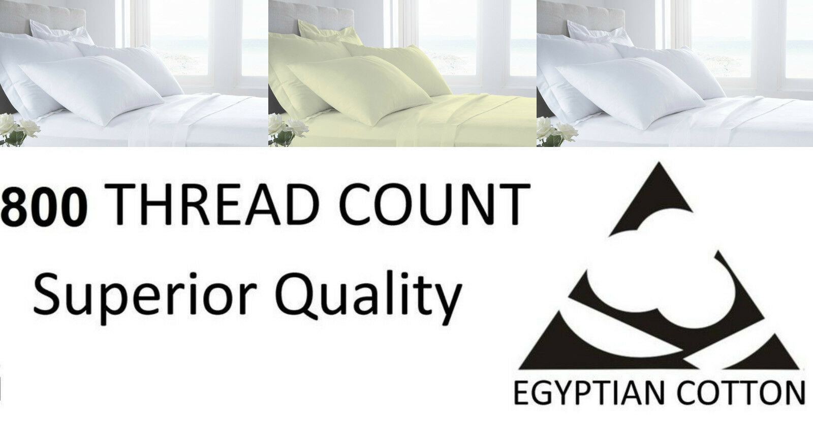 800 Thread Count Flat Sheets Pure 100% Egyptian Cotton Bedding Weiß & Cream
