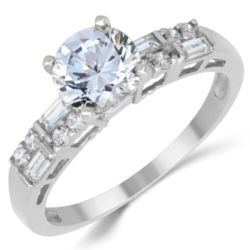 14K Solid White Gold CZ Cubic Zirconia Solitaire Engagement Ring 1.0 Ct.