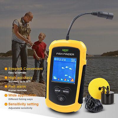 100M Lucky Fish Finder Wired Sonar Alarm Sensor Ocean Transducer LCD Backlight