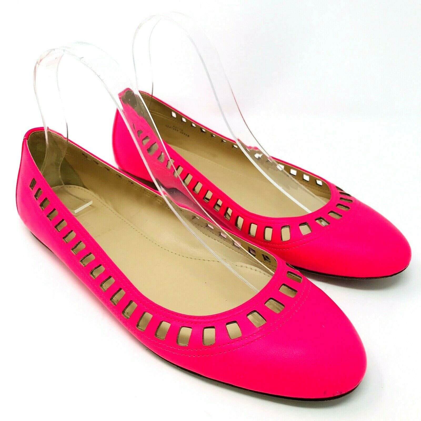 J Crew Made in  Nora Lattice Ballet Flats Sz 8.5 shoes Pink Magenta A6755