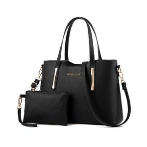 2pcs-Fashion-Womens-Shopper-Handbag-Large-Leather-Ladies-Tote-Shoulder-Bag