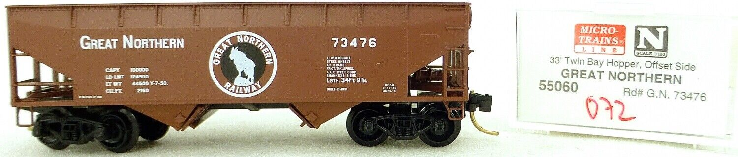 Micro Trains Line 55060 Great Northern 73476 33' Twin Bay Hopper