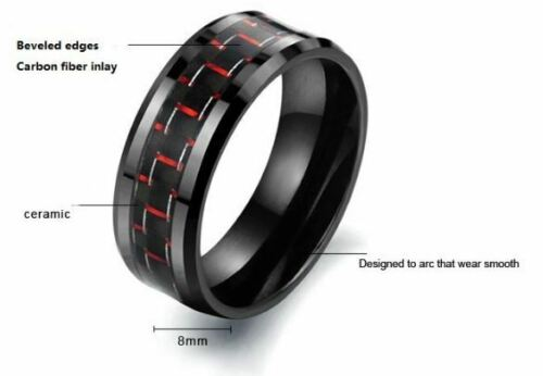 Ring Verlobungsring Keramik Schwarz mit rote muster Modeschmuck 8 mm Breit 23