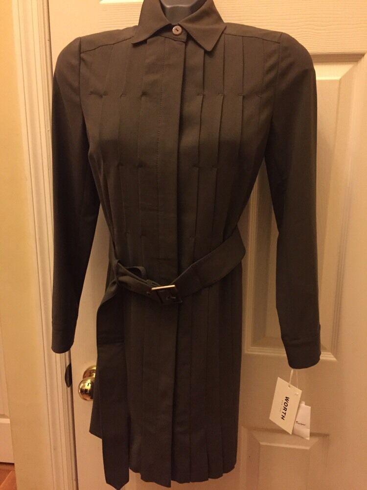 Worth New York 95% Wool Bistretch Pleated  Shirt Dress Blazer  Sz 4