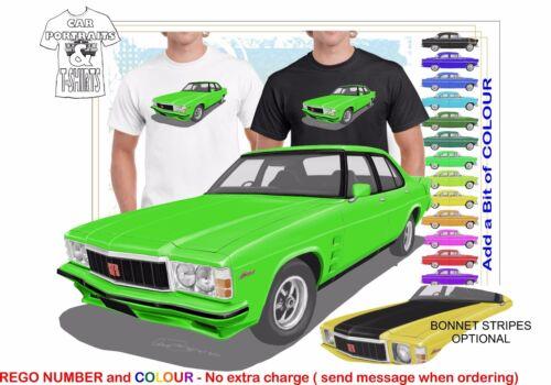 CLASSIC 76-77 HX GTS TWIN LIGHTS MONARO ILLUSTRATED T-SHIRT MUSCLE RETRO CAR