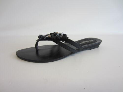 Savannah Ladies Toe-Post Sandals Black and White Gems L6R721 UK 3X8 R22A