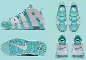 buy online 6f9a6 47730 Image is loading Nike-Air-More-Uptempo-GS-Island-Green-Mint-