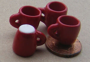 1-12-Scale-Set-Of-4-Red-Ceramic-Tapered-Coffee-Mugs-Tumdee-Dolls-House-Drink-SDS