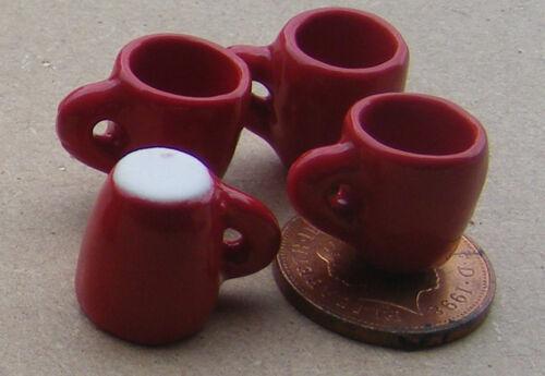 1:12 escala 4 Red Cerámica Cónico tazas de café Casa De Muñecas Beber Accesorios SDS