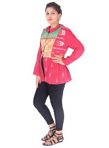 Quiltet Frakke Jakke Indian Bloktrykt Kantha Outwear Cotton Dame Hånd FxIAq81w