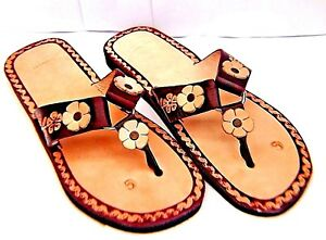 031834b50922 Image is loading Women-Mexico-huarache-sandal-brown-leather-floral-slim-