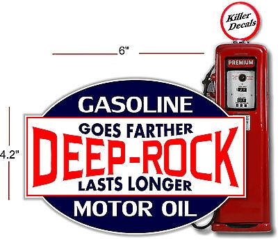 "3/"" DEEP ROCK MOTOR OILS GOES FURTHER GASOLINE GAS PUMP TANK DECAL"