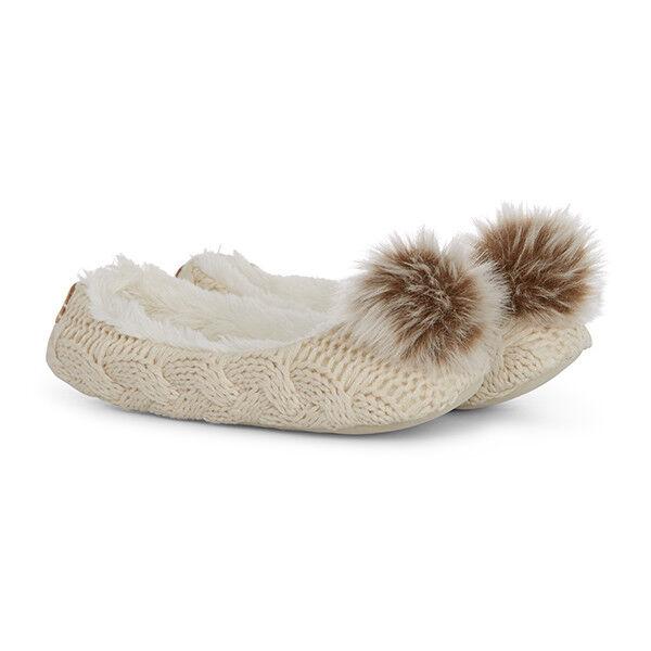Aran Traditions Cable Knit Pom Pom Ballerina Feel Soft Feel Ballerina Slippers 1d28e8
